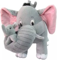 Fun & Joy cute Elephant with baby elephant and mouse  - 18 inch(Grey)