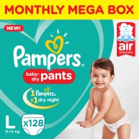 Pampers Pants Diapers Monthly Box Pack New - L(128 Pieces)