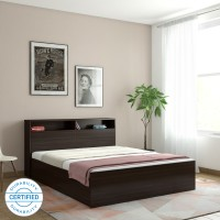 HomeTown Alex Engineered Wood Queen Box Bed(Finish Color -  Dark Walnut)