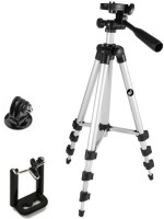 JMO27Deals Portable & Foldable Camera - Mobile Tripod With Mobile Clip Holder Bracket , Fully Flexible Mount Cum Tripod , Standwith Three-dimensional Head & Quick Release Plate Only 150 gm (Black) Tripod(Black, Silver, Supports Up to 1500 g)