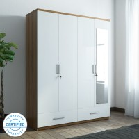 Spacewood Apex Engineered Wood 4 Door Wardrobe(Finish Color - White, Mirror Included)