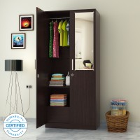 Flipkart Perfect Homes Julian Engineered Wood 2 Door Wardrobe(Finish Color - Wenge, Mirror Included)