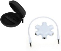 techdeal Headphone Pouch Accessory Combo for For All Android/Smartphone, iPhone and other compatible USB devices, iPod Shuffle, Earphones, Memory Cards, USB Flash Drive(Black, White)