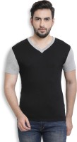 Billion PerfectFit Color block Men V-Neck Black, Grey T-Shirt