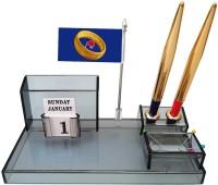PANKU 4 Compartments Acrylic Desk organizer(Smoke Black)