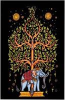 Handicraft-Palace Tree And Elephant Mandala Wall Hanging Art Tapestry(Multicolor)