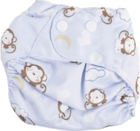 Ole Baby Printed Cloth Diaper REUSABLE Nappy Organic Fabric Anti Bacterial Washable, Adjustable Reusable Cloth Diaper 0-2 Years Sky Blue - L