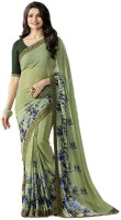 Lady Style Printed Daily Wear Georgette Saree(Green)