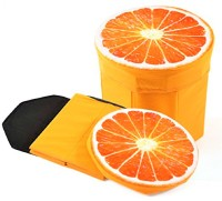 Quick Shel 3D- CUTE CARTOON ORANGE FRUIT FOLDING STORAGE ORGANIZER CUM STOOL WITH INNER INFLATABLE STOOL PLUS AIR FILLED SOFT COMFORT SEAT WITH PUMP Living & Bedroom Stool(Orange)