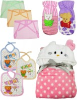 Brandonn Daily Use pack having 1 baby wrapper, 2 feeding bottle covers, 3 nappies 3 Baby Bibs(Multicolor)(Multicolor)