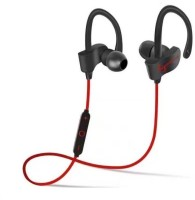 Padraig qc10 joggers earhooks noise cancellation earbuds sweat proof support all android mobiles and apple ios iphone smartphones black red color by CASVO Bluetooth Headset with Mic(Black, In the Ear)