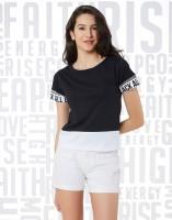 Metronaut Printed Women Round Neck Black, White T-Shirt