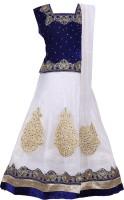 DELHIITE Girls Lehenga Choli Ethnic Wear, Party Wear Embellished Lehenga, Choli and Dupatta Set(White, Pack of 1)