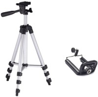 Piqancy 3110 Portable & Foldable Camera & Mobile Tripod with Mobile Clip Holder Bracket Fully Flexible Mount Cum Tripod Stand with Three-Dimensional Head & Quick Release Plate Tripod(White, Supports Up to 1500)
