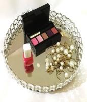 Marigold Stores Crystal Beads Cosmetic Round Tray Jewelery Organizer Tray Mirrored Decorative Tray (Silver) Crystal, Glass Decorative Platter(Clear)