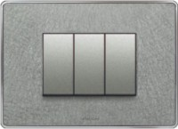 VIHAN 3 Module Designer With Steel Frame Platinum Texture Color Plate Switch 20 Three Way Electrical Switch(Pack of 1 Number of Switches - 3)