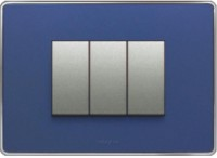 VIHAN 3 Module Metallic With Steel Frame Metallic Blue Color Plate Switch 20 Three Way Electrical Switch(Pack of 1 Number of Switches - 3)