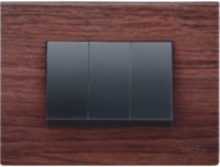 VIHAN 3 Module Joy Mahogany Wood Color Plate Switch 20 Three Way Electrical Switch(Pack of 1 Number of Switches - 3)