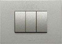 VIHAN 3 Module F-ONE Metallic Graphite Silver Color Plate Switch 20 Three Way Electrical Switch(Pack of 1 Number of Switches - 3)
