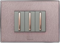 VIHAN 3 Module Designer With Steel Frame Diamond Texture Color Plate Switch 20 Three Way Electrical Switch(Pack of 1 Number of Switches - 3)