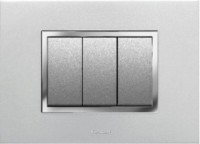 VIHAN 3 Module F-ONE+ Metallic Silver Color Plate Switch 20 Three Way Electrical Switch(Pack of 1 Number of Switches - 3)