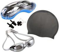 QUINERGYS ™ Metallic - Swim Cap + Swimming Goggles + Earplugs + Nose Clip, Professional Swim Training Kit Set for Men Women Youth Swimming, Camping, Cycling, Hiking, Skating, Skiing, Snowboarding Kit