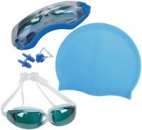 QUINERGYS ® Aqua Blue - Swim Cap + Swimming Goggles + Earplugs + Nose Clip, Professional Swim Training Kit Set for Men Women Youth Swimming, Camping, Cycling, Hiking, Skating, Skiing, Snowboarding Kit