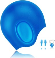 QUINERGYS Hot Blue - Waterproof Silicone Swimming Cap For Long Hair Keeps Hair with 3D Ergonomic Design Ear Pockets for Adult Woman and Men with Nose Clip & Ear Plugs Swimming, Camping, Cycling, Hiking, Skating, Skiing, Snowboarding Kit