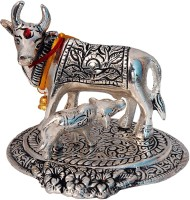 AMV Deals Kamdhenu / kamadhenu / kamdehnu / kaamdhenu cow and calf / gau mata indian desi metal / aluminium Idol / murti for home / mandir / office / shop decor Decorative Showpiece  -  15 cm(Aluminium, Silver)