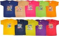 Kifayati Bazar Boys & Girls Graphic Print Hoisery T Shirt(Multicolor, Pack of 10)
