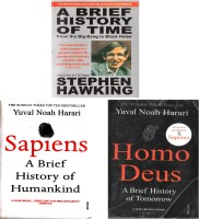 Set Of 3( Three )Classic Books(Paperback, sapiens and stephens hawking)