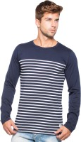 Alan Jones Striped Men Round Neck Dark Blue T-Shirt