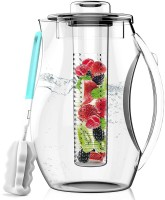 InstaCuppa Fruit Infuser Water Pitcher and Cold Brew Tea Maker (2700mL) Low-Calorie, Healthy Drink Maker | Tea, Lemonade, Fresh Herbs | Removable Infusing Core | BPA-Free Kitchen Drinkware 1 Coffee Maker(Transparent)