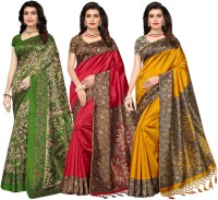 Ishin Printed Bollywood Poly Silk Saree(Pack of 3, Multicolor)