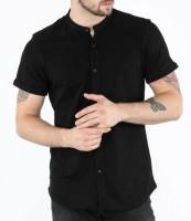 BASE 41 Men's Solid Casual Mandarin Shirt