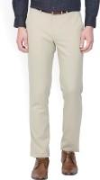 Louis Philippe Slim Fit Mens Beige Trousers
