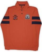 612 League Boys Solid Cotton T Shirt(Orange, Pack of 1)