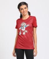 FIFA Graphic Print Women's Round Neck Maroon T-Shirt