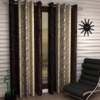 Phyto Home Polyester Window Curtain 153 cm (5 ft) Pack of 2(Floral Brown)