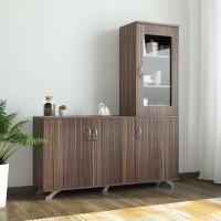 Crystal Furnitech Eadric Engineered Wood Kitchen Cabinet(Finish Color - Cairo wallnut, Knock Down)
