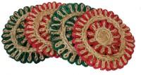 INAAYA Jute Door Mat(Red, Green, Medium)