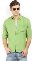 Pepe Jeans Men's Self Design Casual Green Shirt