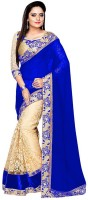Shree Creation Embroidered Bollywood Poly Georgette, Cotton Blend Saree(Blue, Gold)