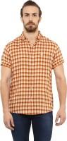 Mufti Men's Checkered Casual Orange Shirt