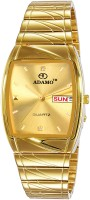 ADAMO 9315YM04 SHINE wristwatch / watchs DAY AND DATE FUNCTIONING Gold Dial Rectangle Shaped with Metal Chain Premium watch for Men and Boys Analog Watch  - For Men