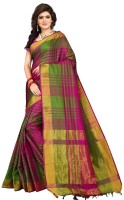 V J Fashion Checkered Fashion Art Silk Saree(Multicolor)