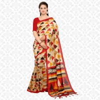 Divastri Printed Daily Wear Poly Art Silk Saree(Cream, Red)