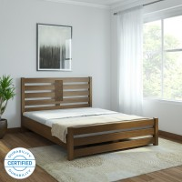 @home by Nilkamal Nation Solid Wood Queen Bed(Finish Color -  Walnut)