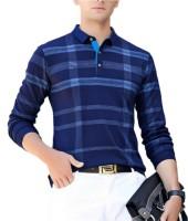 Seven Rocks Checkered Men Polo Neck Blue, Light Blue T-Shirt