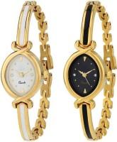 Zebra Combo Pack 2 Designer Stylish White-Black Dial Golden Bangle Watch For Girls & Women Watch - For Girls